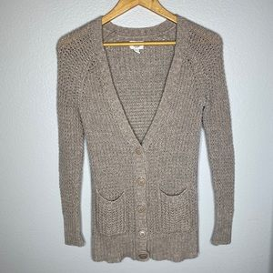 American Eagle Basic Beige Cable Cardigan …